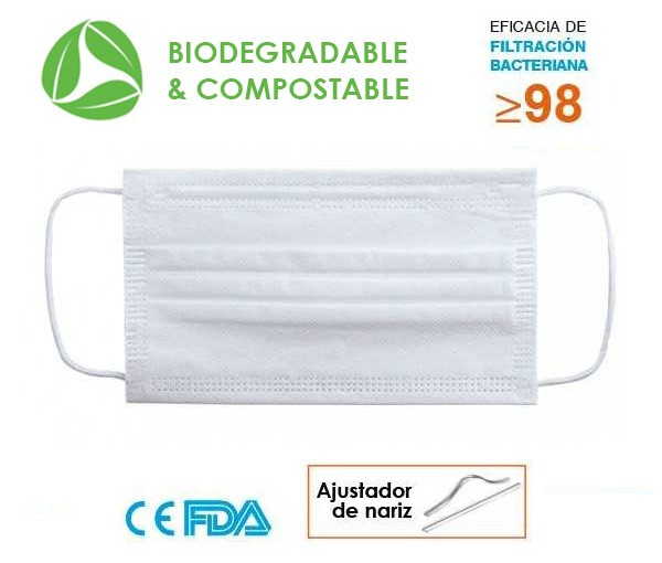 MASQUE BIODEGRADABLE CHIRURGICAL PROTECTION VIRUS
