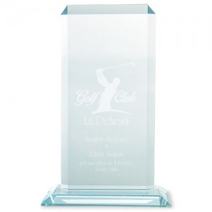 TROPHEE FORME PLAQUE RECTANGLE AVEC SOCLE  PUBLICITAIRE